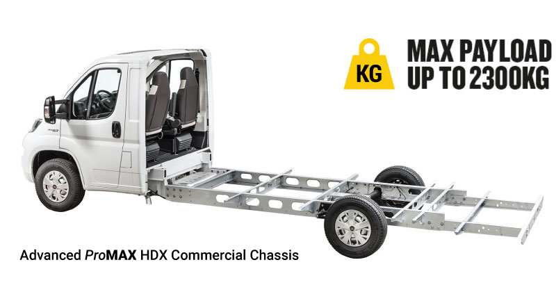 Maxi Mover ProMAX HDX Commercial chassis can support payloads of up to 2400kg.