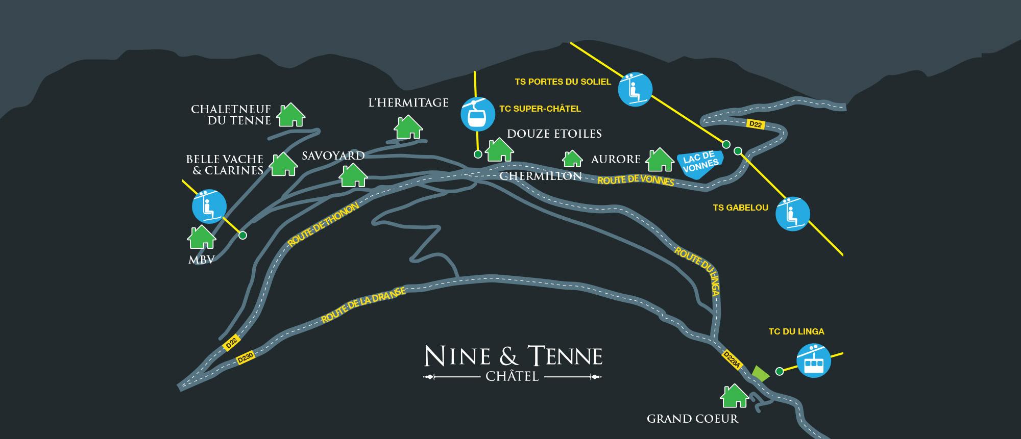 NINE & TENNE Map Chatel