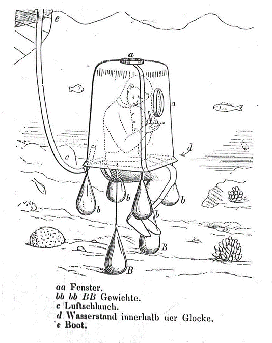 In 1867, biologist and artist Eugene de Ransonnet designed and commissioned a diving bell, complete with window, so he could observe and draw a coral reef while submerged