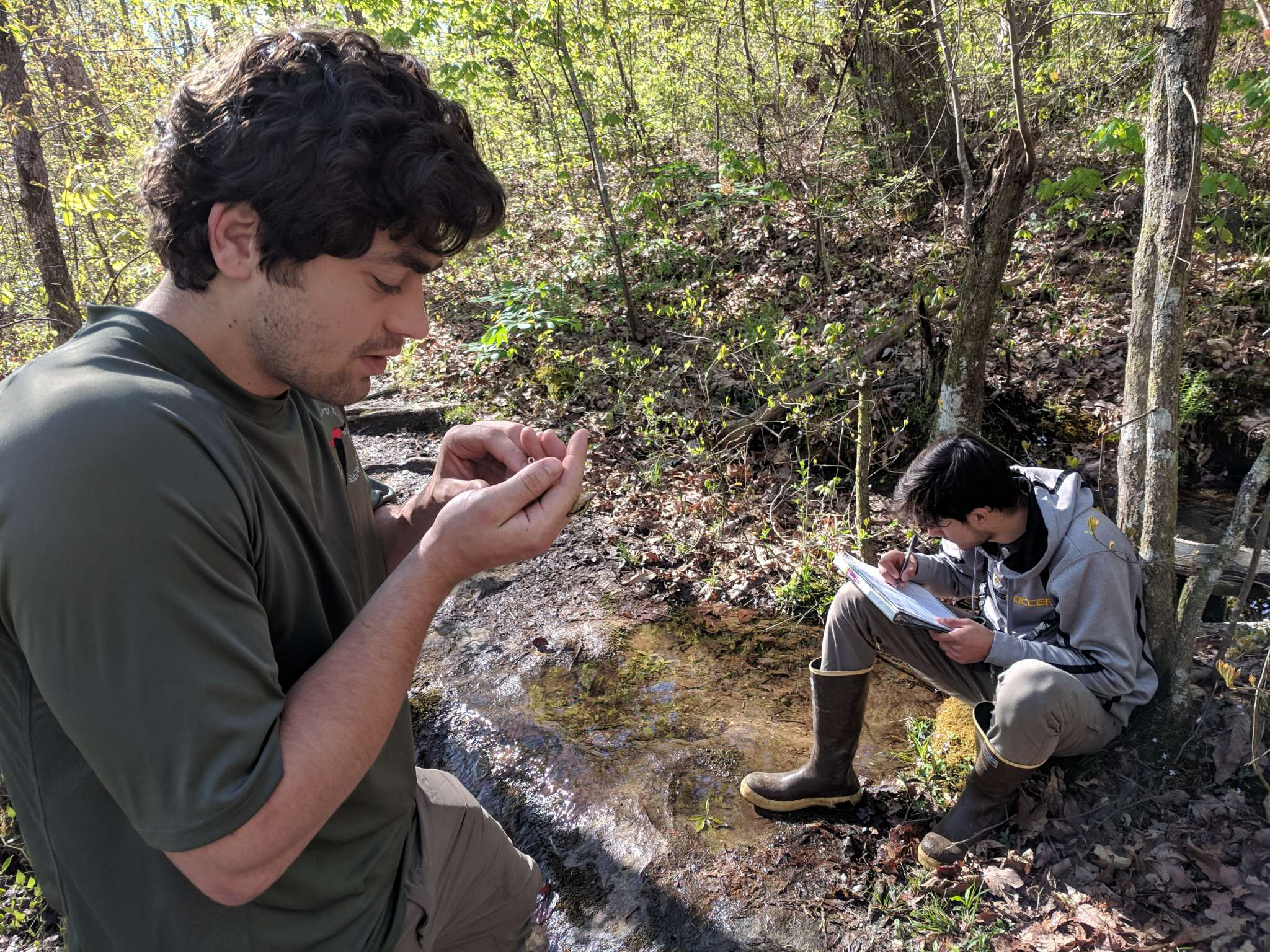 Two young wildlife biologists doing wildlife conservation field work by looking at samples by a river