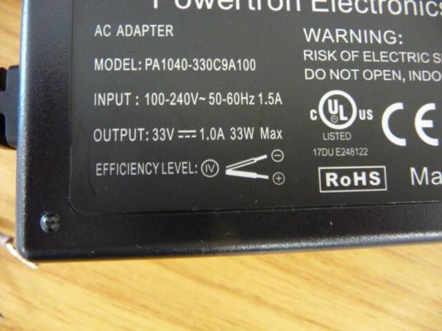 Power supply 33v 1 amp Black